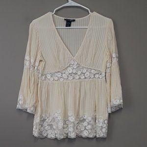 Boston Proper Cream Lace Bell Sleeve Top Size 6